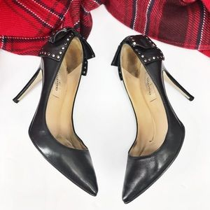 •Valentino• Bow Back Studded Pumps Black Leather